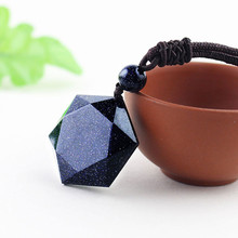 Drop Shipping Natural Stone Blue Sandstone Bead Ball Six Star Necklace Pendant Aventurine Obsidian Starry Sky Lucky Energy Gift