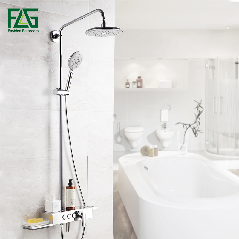 FLG Bathroom Rainfall Shower Faucets Set 8 Inch Shower Head ABS Hand Shower Sprayer Wall Mounted Bath Shower Sets