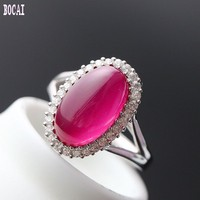 925 sterling silver jewelry hand set with red fused alumina fashion silver ring 2019 adjustable ring for women