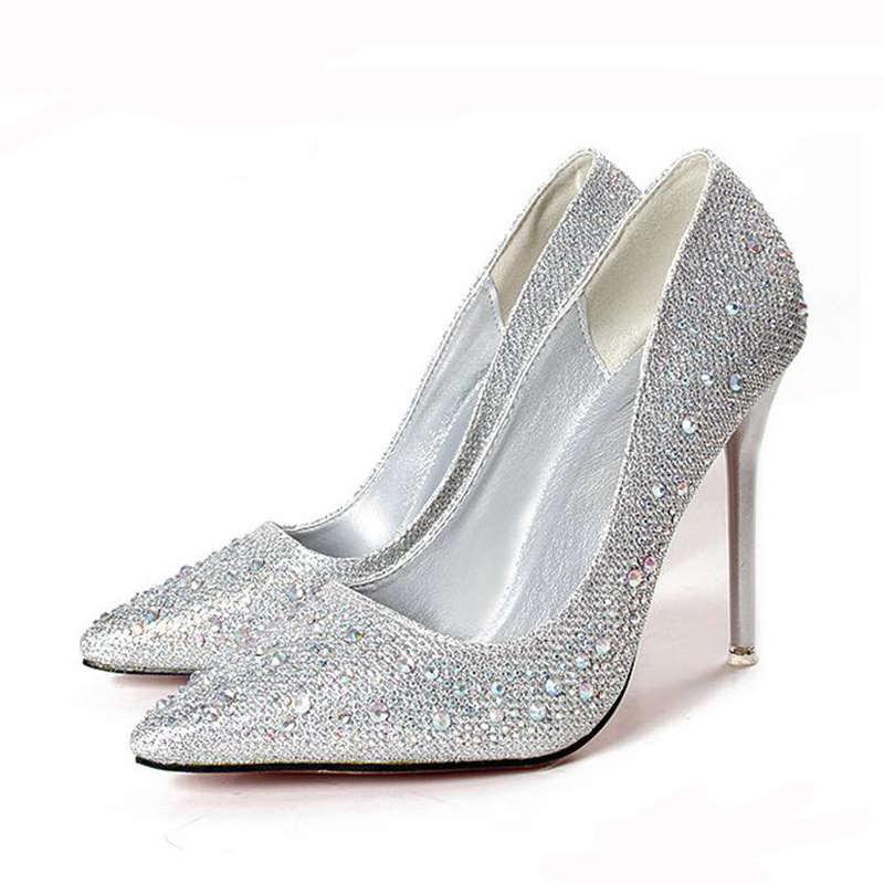 Silver Grey High Heel Shoes