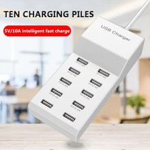 10-Port USB Charger 10 Port 5V 2.4A 120W Smart Fast Multi-port Quick Charging For iPhone X Tablet Xiaomi Huawei