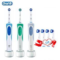 Oral b vitalidade escova de dentes elétrica recarregável escova de precisão limpa 2 minutos temporizador + 4 presente substituir cabeças frete grátis