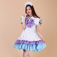 New Japanese Purple Cat Claw Maid Dress Outfits 5 In 1 Set Performing Dresses Waitress Apron