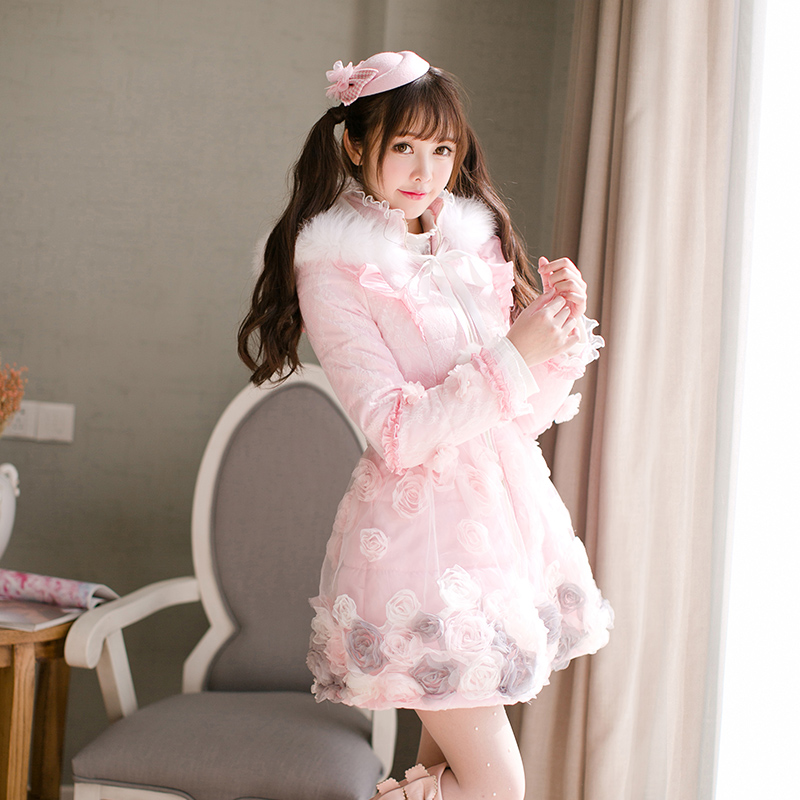 Princess sweet lolita parkas In the winter of original Japanese Sweet Princess ruffled collar rabbit fur coat C22CD7211 2017 winter new clothes to overcome the coat of women in the long reed rabbit hair fur fur coat fox raccoon fur collar