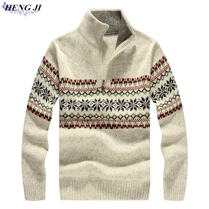 HENG JI font b Men s b font font b sweater b font thick woven cardigan