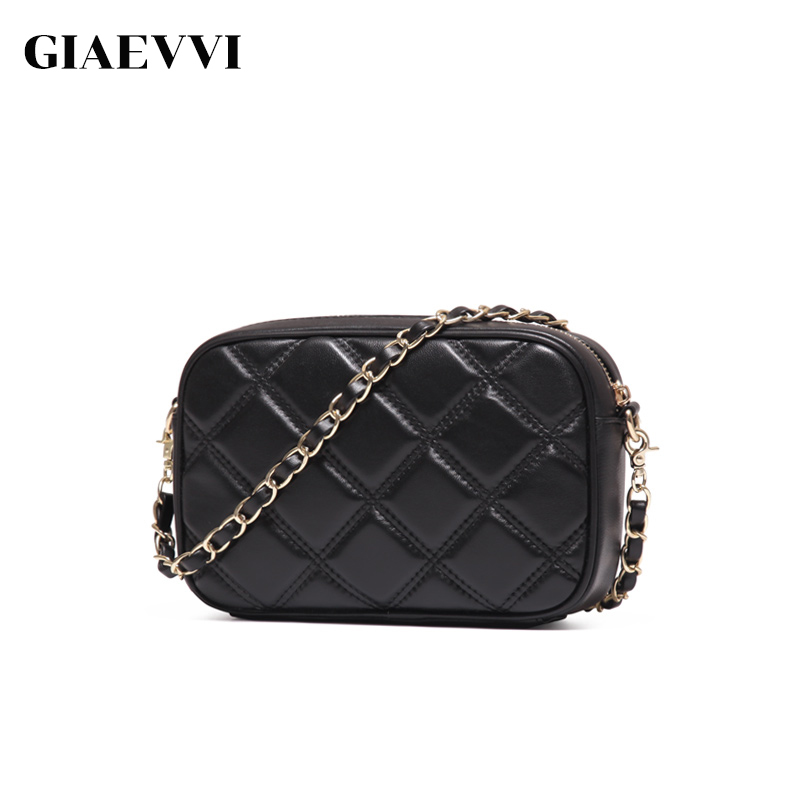 GIAEVVI Women Genuine Leather Handbag Small Crossbody for Lady Messenger Bag Fashion Purse Chain Shoulder Bags Sheepskin Clutch giaevvi women leather handbag small flap clutch genuine leather shoulder bag diamond lattice for grils chain crossbody bags
