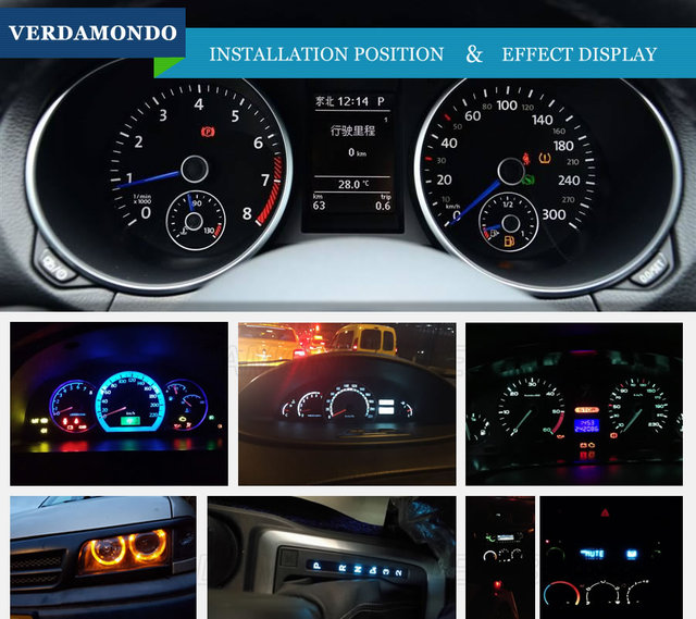 20pcs Car Interior T5 Led 1 SMD DC 12V Light Ceramic Dashboard Gauge Instrument Ceramic Car Auto Side Wedge Light Lamp 6 Colors 3