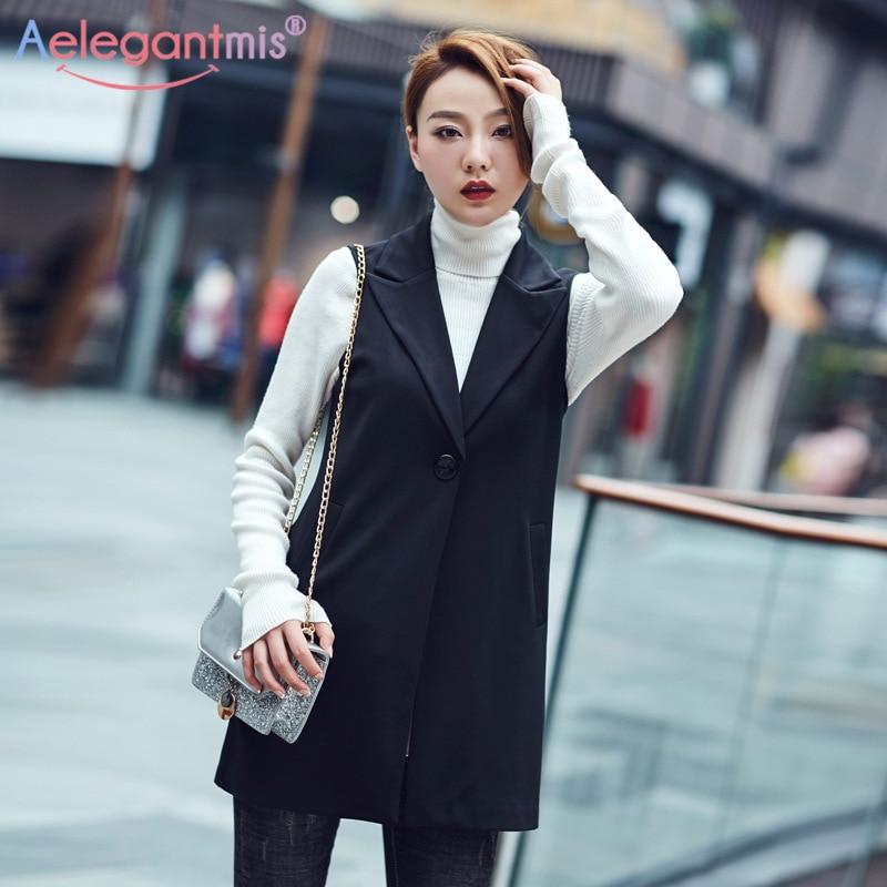 Aelegantmis Autumn Casual Long Vest Women Fashion Pocket Waistcoat Office Lady Coat Elegant Sleeveless Jacket Outwear Plus Size