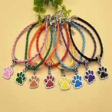 30pcs Drop Glaze Dog Cat Paw Charm Pendant Multicolor Woven Leather Rope Bracelet Bangle Couple Jewelry Holiday Gift Wholesale(China)