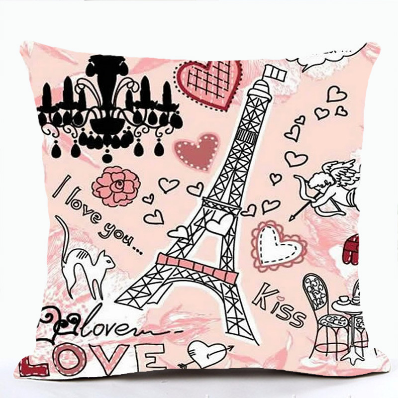 Pink Lolita Style Cushion Cover Romantic France Eiffel Tower Paris Pillow Case Sofa For Car Chair Throw Housse De Coussin