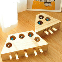 Whack Mole Mouse Cat Exercise Toy Solid Wooden Puzzle Box with 3/5 Holes Pet Toys LBShipping