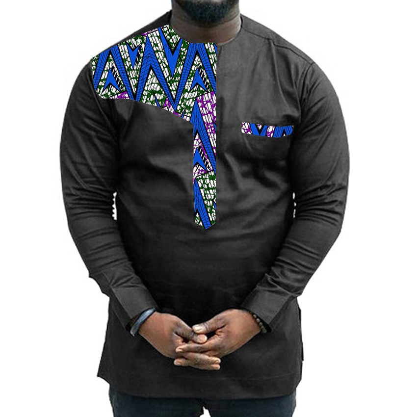 Custom dashiki clothes men shirt long sleeve male african for Custom printed dress shirts