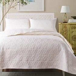 Café blanco rojo de algodón acolchado colcha cubierta de cama conjunto verano edredón manta reina tamaño cama fundas de almohada 3 piezas