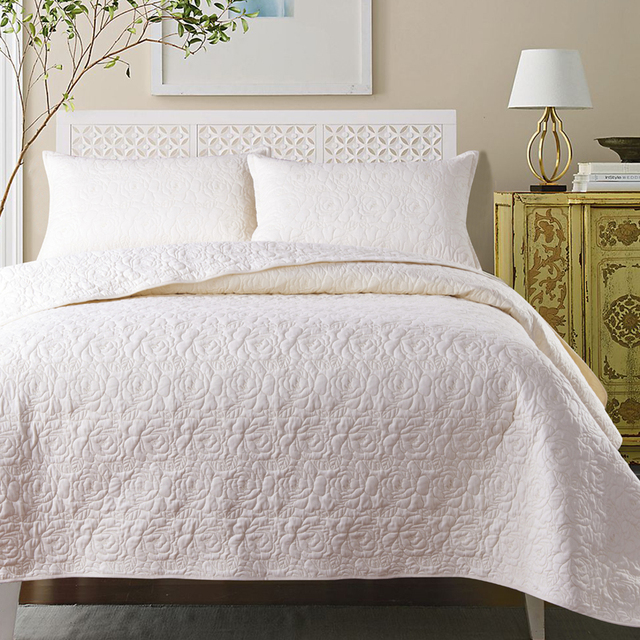 White Coffee Red Quilted Cotton Coverlet Bedspread Bed Cover Set