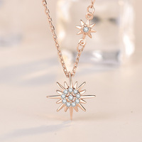 Rose Golden Little Red Book Burst Sun necklace Korean sterling silver net red fairy fashion miniscule chain