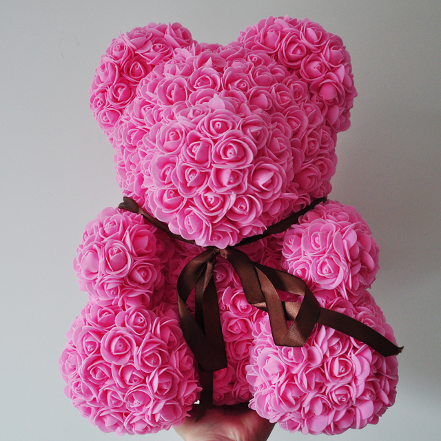 2018 Valentines Gift Pe Dark Pink Color Rose Bear Wedding Gift