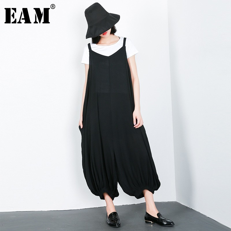 [EAM] 2019 New Spring Summer Strap Split Joint Loose Long Big Size Wide Leg Pants Women Overalls Fashion Tide All-matchJL462