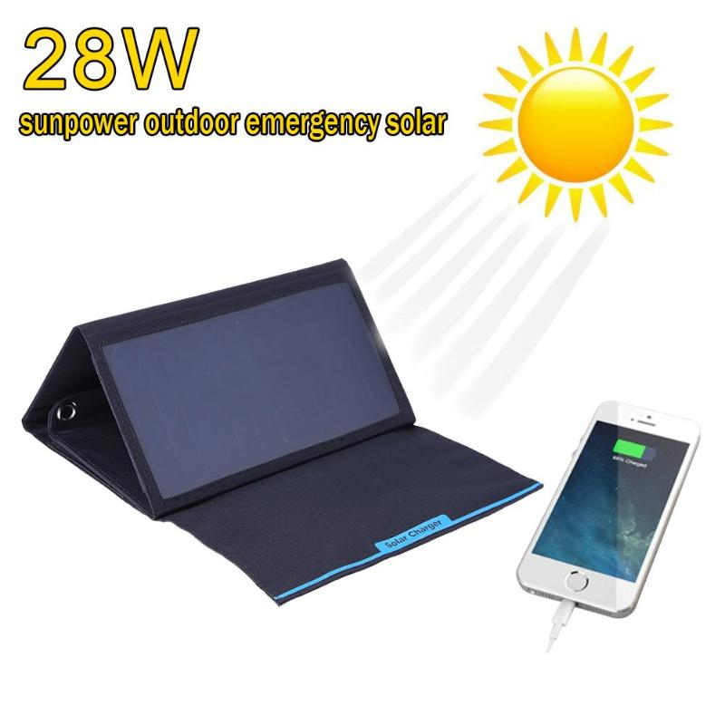 28W Folding Solar Panel Battery Charger Portable Dual USB Output High Efficiency 5V 2.4A Solar Panel Power Bank for iPhone IPAD