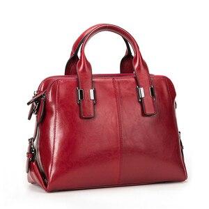 Image 5 - Bolsa feminina de couro de vaca real, bolsa de mão genuína de alta qualidade, design de marca de luxo