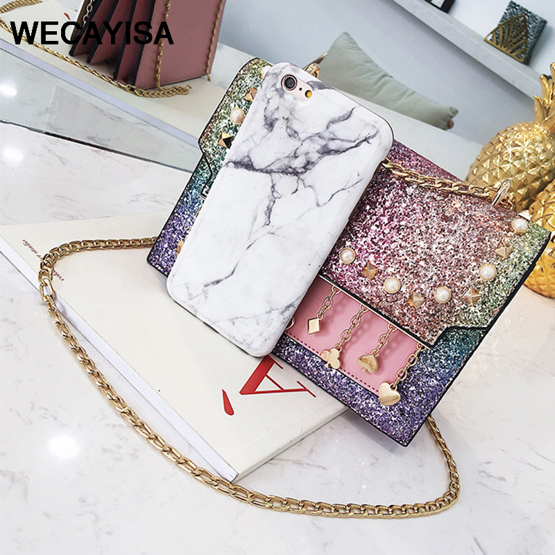 WECAYISA fashion Luxury Chain sequin small square package Imitation leather Tassel Women's Party Lady sweet bag pink 4color sequin detail chain bag