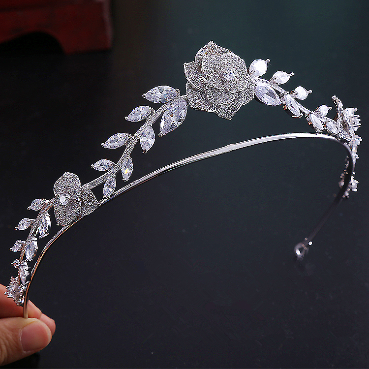 Paved CZ Crown Cubic Zircon Tiara Princess Tiaras Wedding Hair Accessories Bride Hair Jewelry Bijoux Cheveux Coroa Rose WIGO1191 00009 red gold bride wedding hair tiaras ancient chinese empress hair piece