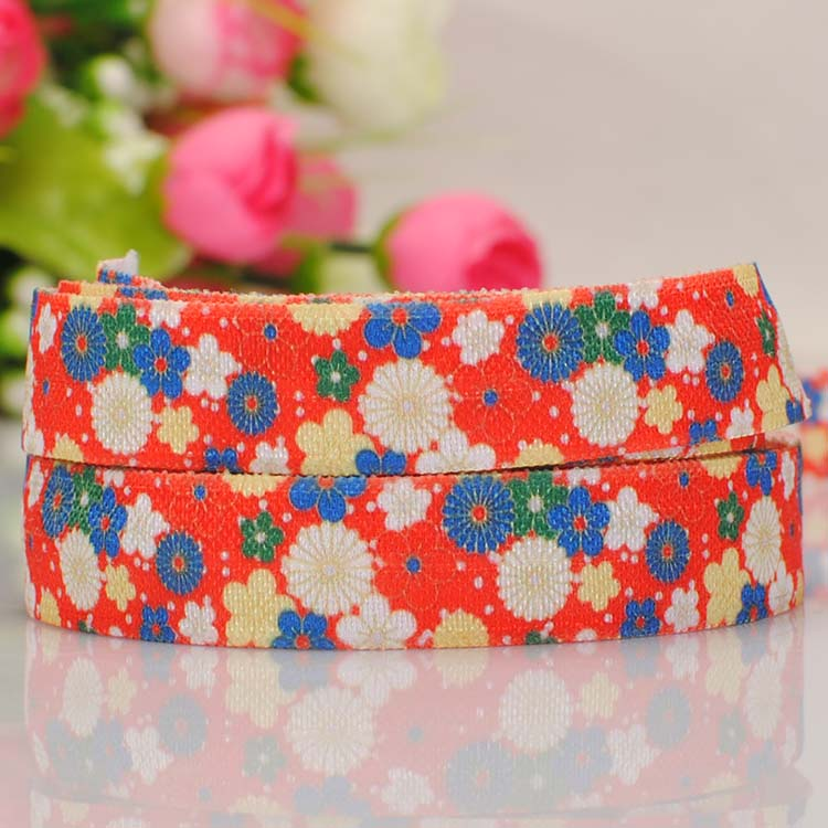 free shipping 50yards 5/8  16mm diverse flower pattern printed FOE ribbon tape DIY handmade