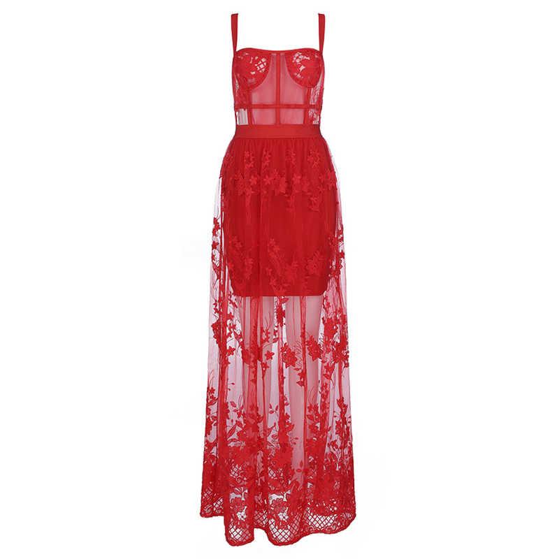 Beateen 2019 Новое красное кружевное платье с вышивкой повязки с красивым цветочным рисунком; свободный сетчатая одежда Рождество Стиль ремень модные, пикантные вечерние платья