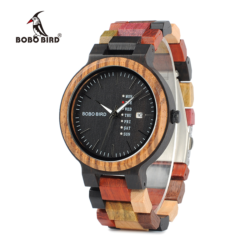 BOBO BIRD WP14-1 Colorful Wooden Watch for Men Women Fashion Wood Strap Week Display Date Quartz Watches Luxury Unisex Gift bobo bird wh05 brand design classic ebony wooden mens watch full wood strap quartz watches lightweight gift for men in wood box