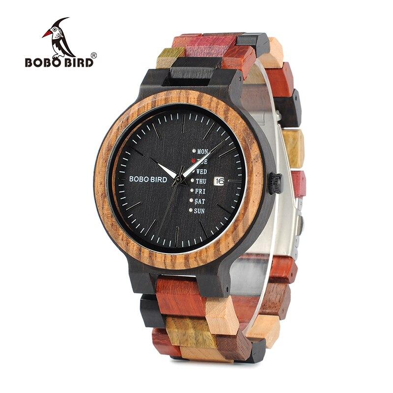 BOBO BIRD Wood Men Watches Luxury Brand Timepieces Week Display Date Quartz Men's Ideal Gifts Items relogio masculino W-P14