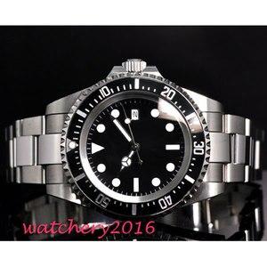 Image 3 - 42mm parnis black sterile dial luminous marks date window vintage SEA automatic movement mens Watch