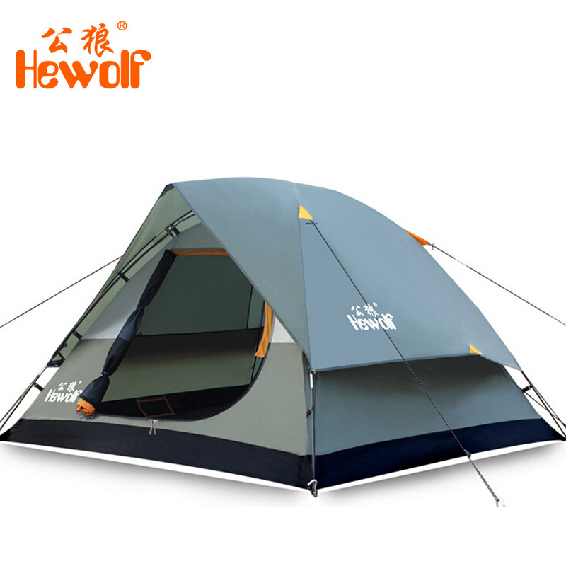 Hewolf Waterproof Double Layer 2 3 person Outdoor Camping Tent Hiking Beach Tent Tourist bedroom travel 2017 china barraca tenda hewolf 2persons 4seasons double layer anti big rain wind outdoor mountains camping tent couple hiking tent in good quality