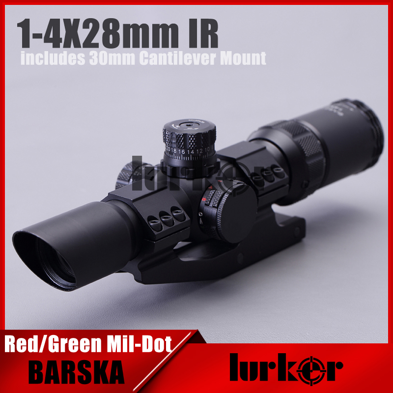 Hlurker 1-4x28mm IR Riflescope Illuminated Red/Green Mil-Dot Reticle/Optical Rifle Scope Optical With 30mm Cantilever Mount