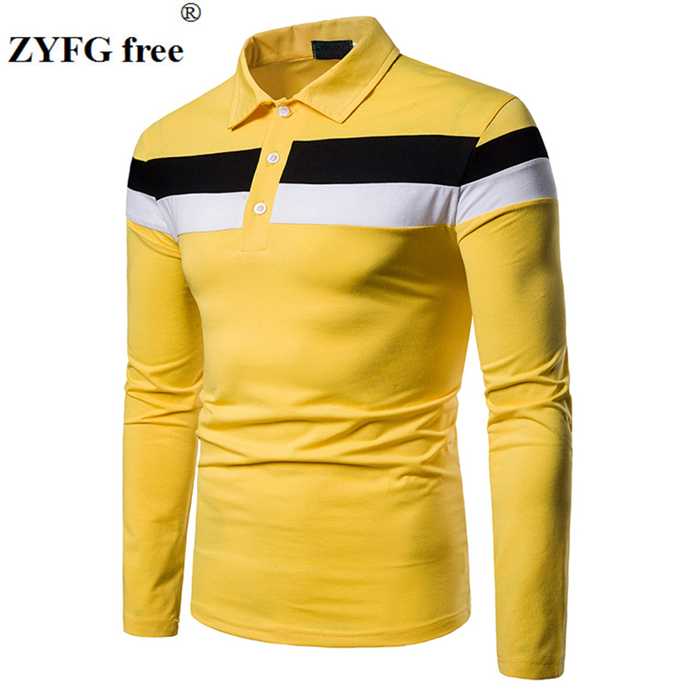 Image 3 - ZYFG free men Polo long sleeve contraster color stitching turn down collar polo shirt simple casual gentleman tops man clothing-in Polo from Men's Clothing