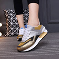 Zapatos casuales de las mujeres con cordones zapatillas deportivas mujer colores mezclados zapatos de marca transpirable sudor absorbente tenis femenino de malla