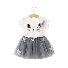 ARLONEET/2018 костюм для девочек, мини-юбка, рубашка с рисунком кота для девочек, топ, юбка-пачка с бабочкой, комплект одежды для девочек 3-7 лет 30S0403