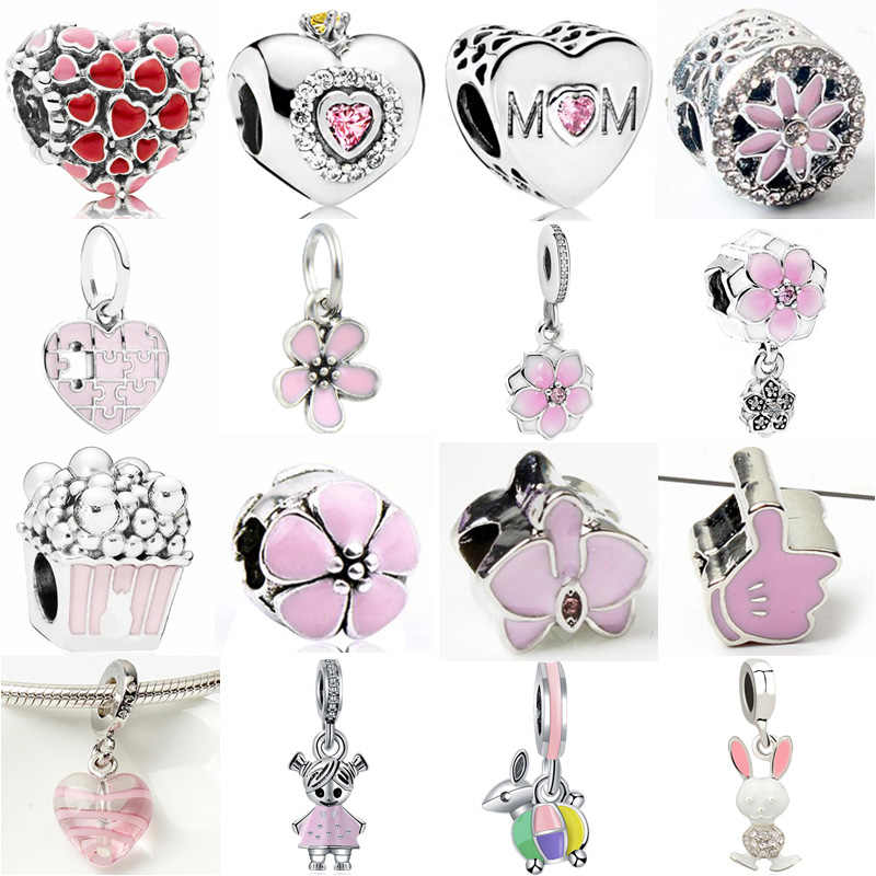 Maxi Pink Color Cute Animal Butterfly Robot Flowers Hearts Crystal Charms Beads Fit Pandora Bracelets Necklaces for Women DIY