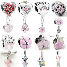 Maxi Pink Color Cute Animal Butterfly Robot Flowers Hearts Crystal Charms Beads Fit Pandora Bracelets Necklaces for Women DIY(China)