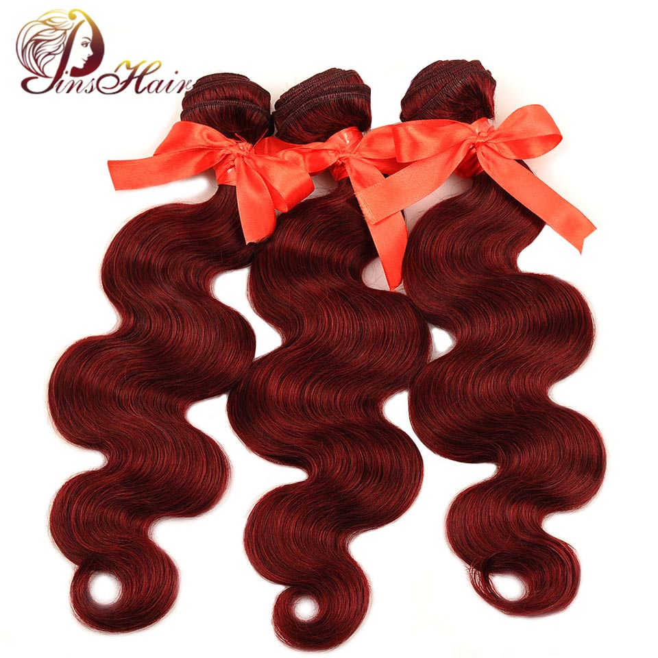 Pinshair Bold Red 99J Burgundy Body Wave Brazilian Hair 3 Bundles Thick Human Hair Weave Bundles Extensions Non Remy Per-Colored