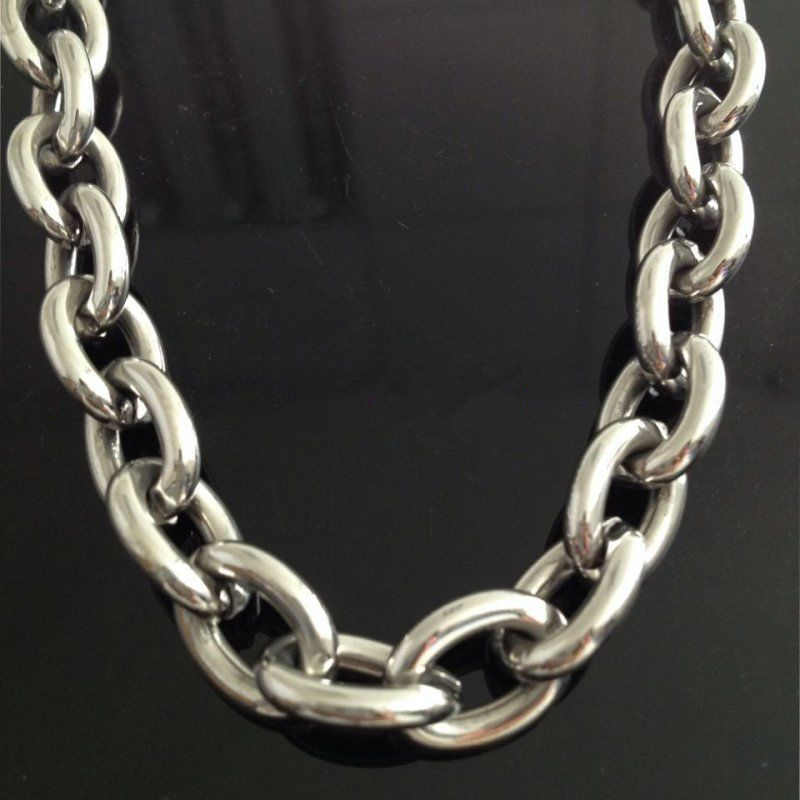"7""-40"" Huge Charming Jewelry Men's 316L Stainless Steel Silver Big O Link Chain Necklace High Quality 8/11/13/15mm Not Fades"