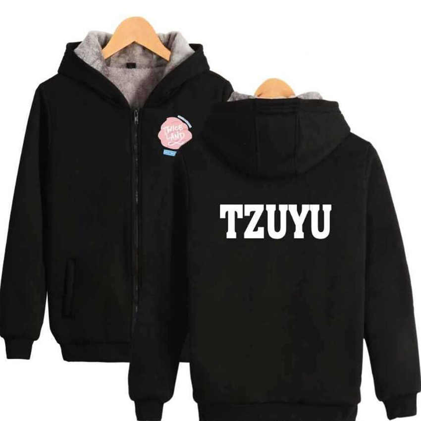 KPOP TWICE Women Hoodies Sweatshirts MOMO SANA tzuyu dahyun nayeon jungyeon Winter Thick Warm Zipper Hooded Jacket Coat Female