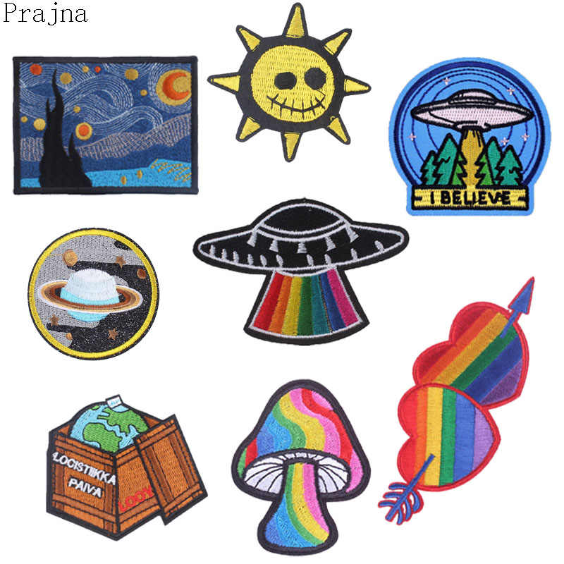 Prajna Van Gogh Space Hippie Patches Ironing Stalker Rock Patch Iron On Cheap Embroidered Patches For Clothes DIY Badge Applique