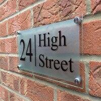 30x20cm personalizado/personalizado casa acrílica clara moderna assina placas de porta placas com filme fosco