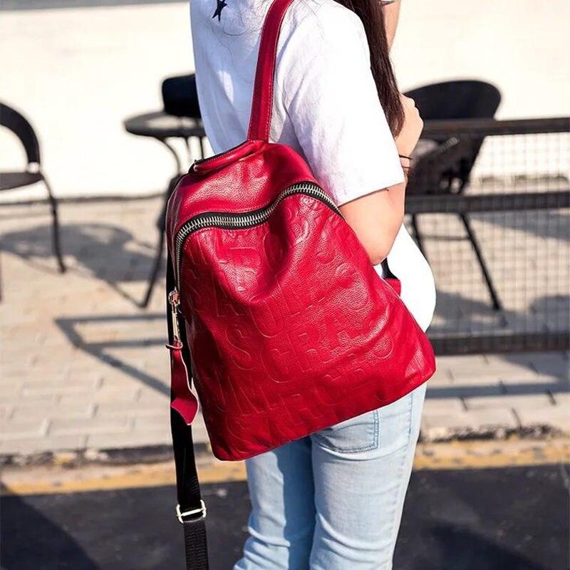 새로운 패션 디자인 여성 배낭 십 대 소녀 여성 학교 어깨 가방 가방에 대 한 고품질 청소년 가죽 배낭-에서백팩부터 수화물 & 가방 의  그룹 1