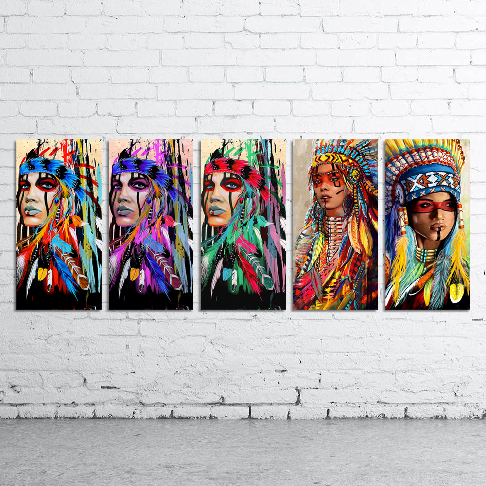 DDWW Wall Art Canvas Painting Animal Picture Posters Prints Native American Indian Feathered Woman Home Decor