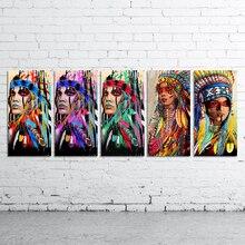 DDWW настенное искусство холщовая картина анимальный рисунок плакаты принты коренной американский индеец пернатая женщина домашний Декор без рамки