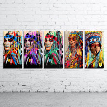 DDWW Wall Art Canvas Painting Animal Picture Posters Prints Native American Indian Feathered Woman Home Decor No Frame(China)