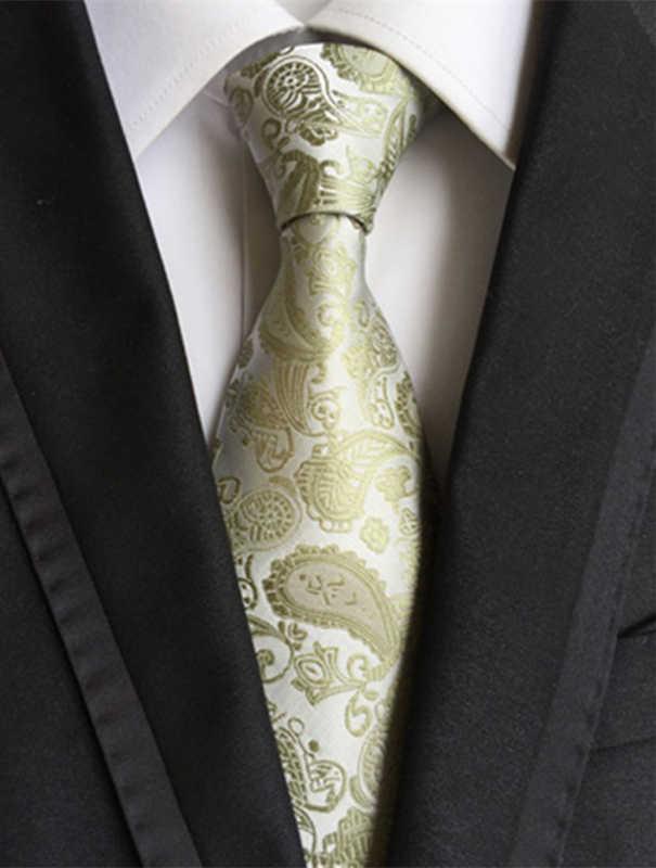 Trendy jacquard tessuto cravatta di seta cravatte paisley gravata per la mens attività abiti sposo cravatta
