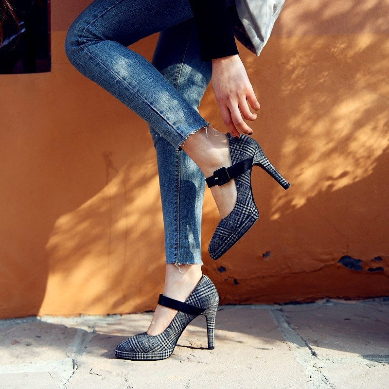 Blau Beliebte Mode Kleid Pumpen Fersen Hohe grau Ferse Frauen Büro Ymechic Dünne Spitz Schnalle Damen 2018 Schuhe Mary Jane Plaid q4EpEU