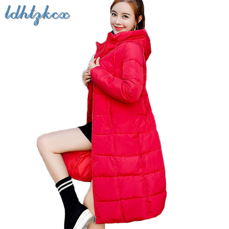Winter Coat Women Plus Size 6XL Cotton Jackets 18 New Korean Fashion Long Slim Thick Warmth Jacket Padded Outerwear   Parkas   LD696