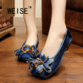 Spring/Autumn National Vintage Slip On Loafers Genuine Leather Shoes Handmade Flowers Flat Shoes Solid Casual  Women Shoes